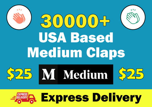 30000+ USA Based Medium Claps To Your Post