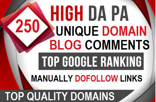 I will build 250 unique domain SEO backlinks on DA 30+ PA 20+ sites