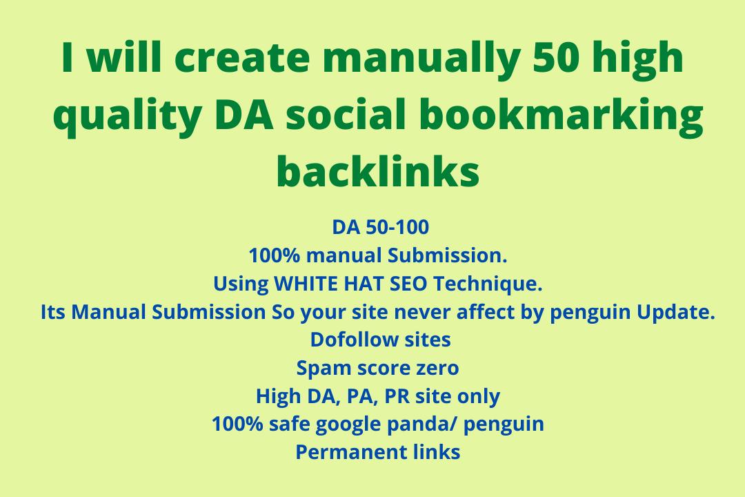 I will create manually 50 high quality DA social bookmarking backlinks