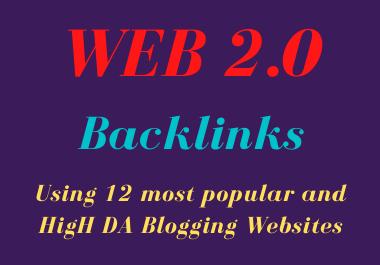 I will do 12 high quality web 2 0 backlinks for your website