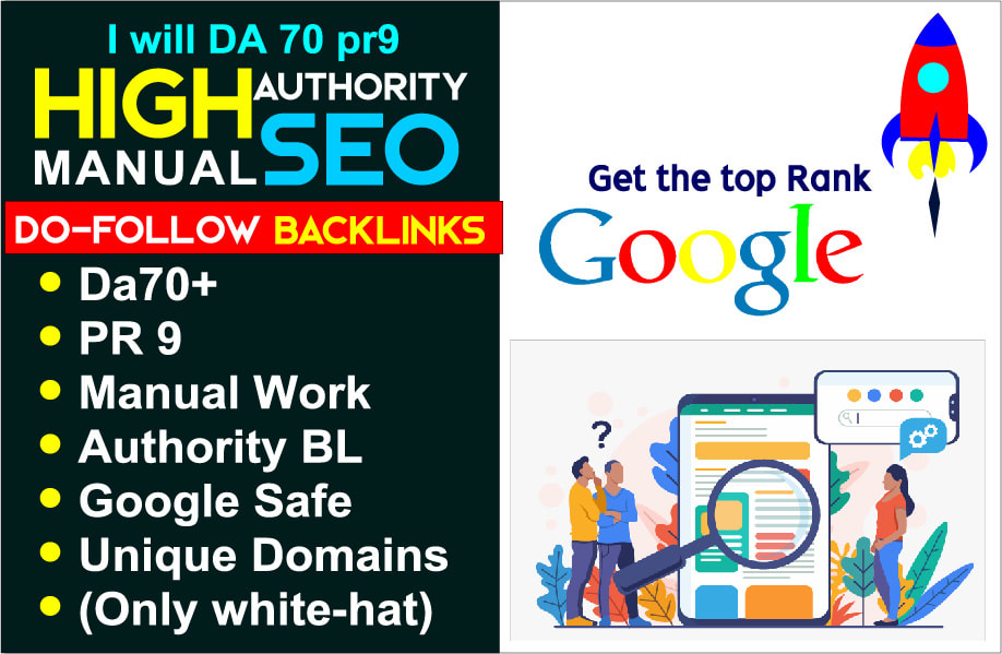 Create da-66 pr9 high authority manual SEO dofollow backlinks