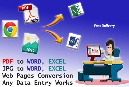 I will convert or type PDF, JPG or Handwritten to MS Word or Excel