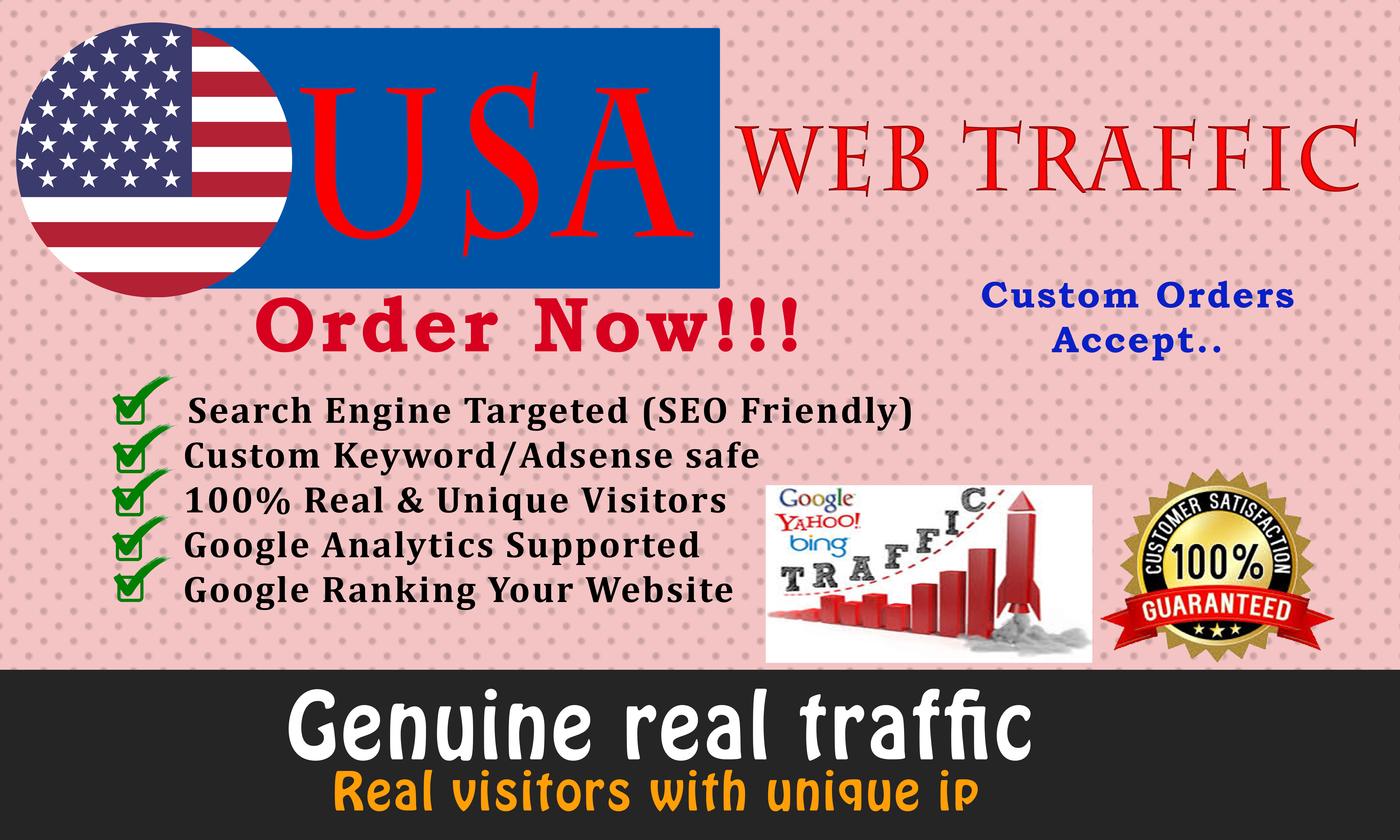I will send real 25000 USA web traffic visitors to your website