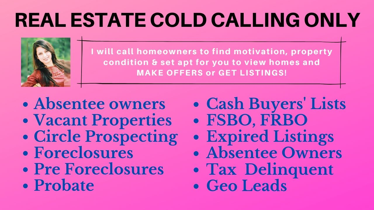 Real Estate Cold Calling and appointment setting- 50 calls