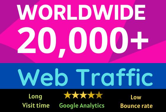 20000+ worldwide web traffic google analytics low bounce rate long visit time