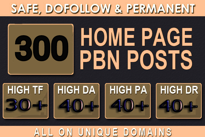 Get Powerfull 300 Primium Backlink and PBNs with High DA/PA on your Homepage with unique website