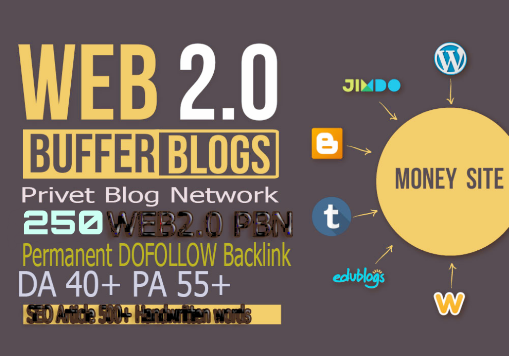 GET 250+ Permanent PBNs Backlink homepage web 2.0 with HIGH DA/PA/CF/TF WITH UNIQUE WEBSITE