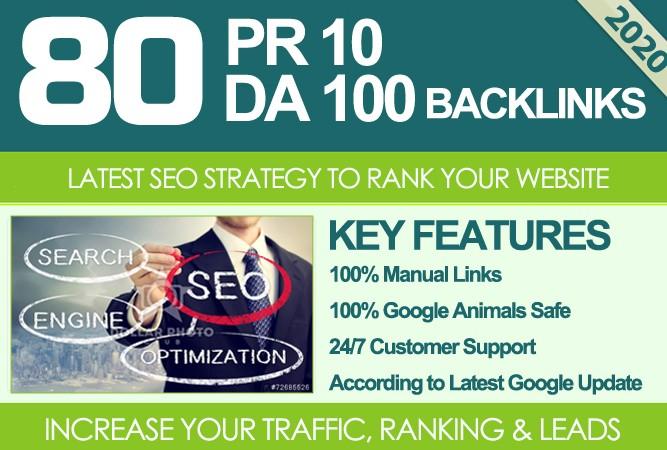 I Will MANUALLY Do 80 UNIQUE PR10 SEO BackIinks on DA100 sites Plus Links