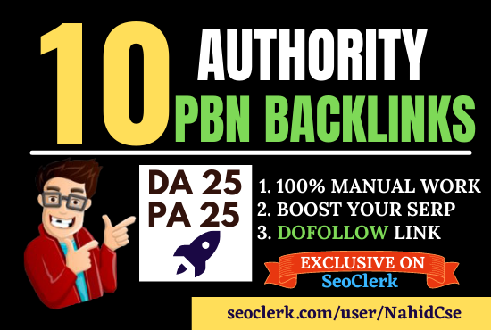 Manually Build 10 Homepage PBN Dofollow Backlinks or Blog Post for SERP Boost