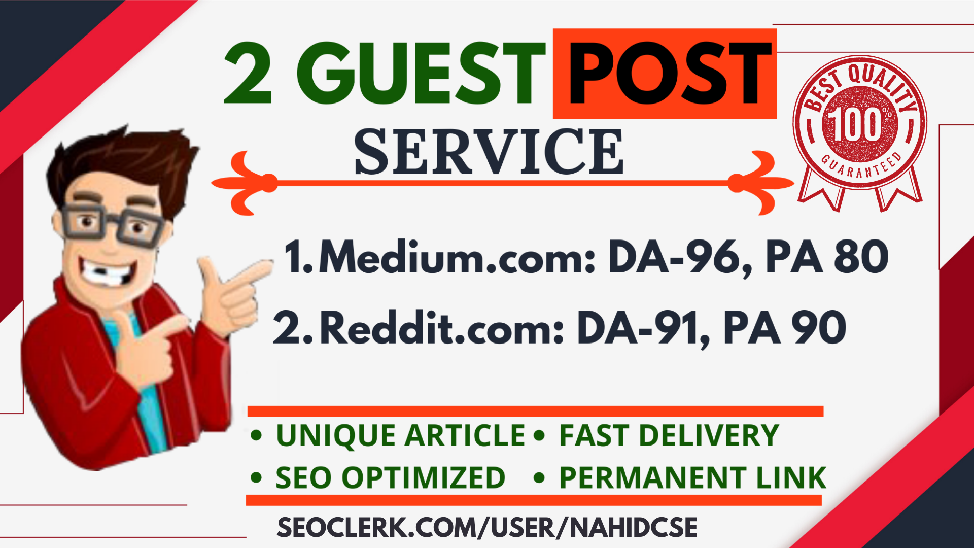 Writing and Publish 2 Powerful Guest Post On Reddit.com, Medium.com DA 95+ monthly visitor 35M+