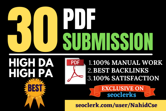DA 40+ dofollow pdf or article submission to 30 high authority sites for SEO backlinks