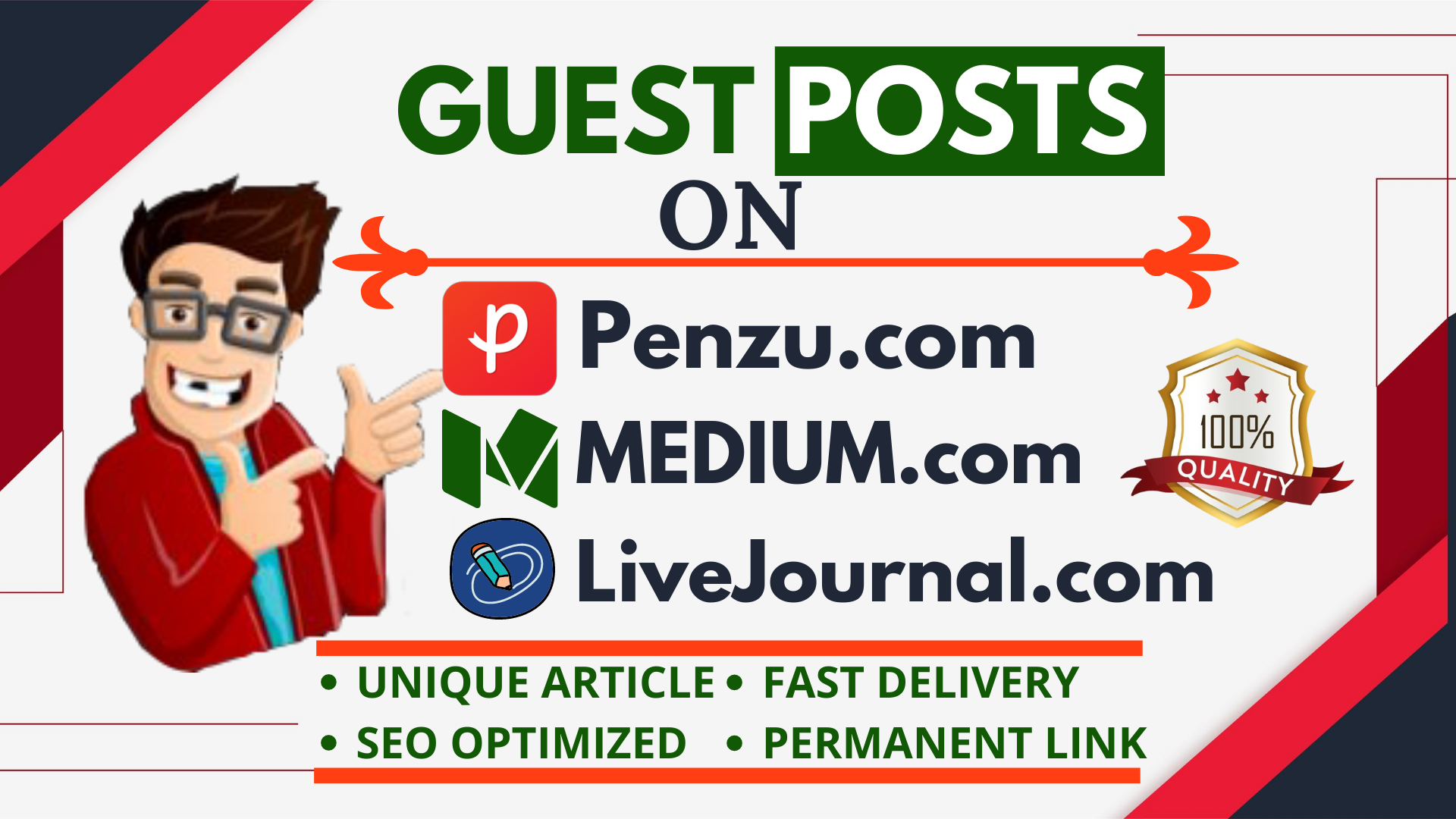 I will Write 3 Content and Publish High DA Guest Post Backlinks on Medium,  Livejournal and Penzu.