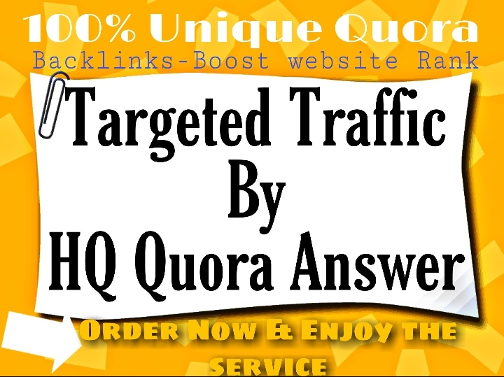 Rocket speed promote your website with unique 50+ HQ Quora answer backlinks