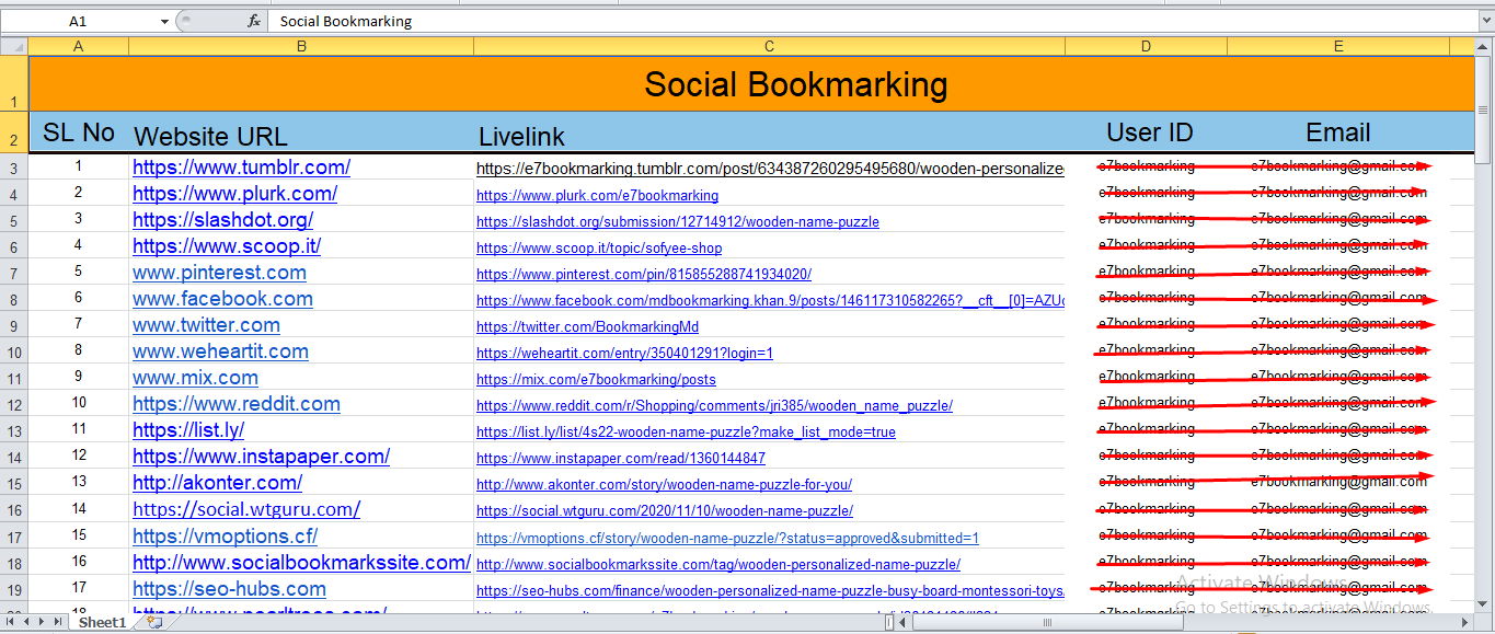 50 Social bookmarking live links on Top bookmarks site