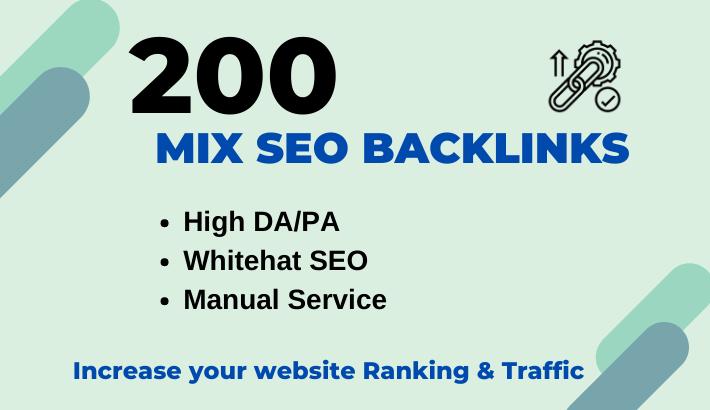 High authority 200 SEO mix backlinks manually for google ranking