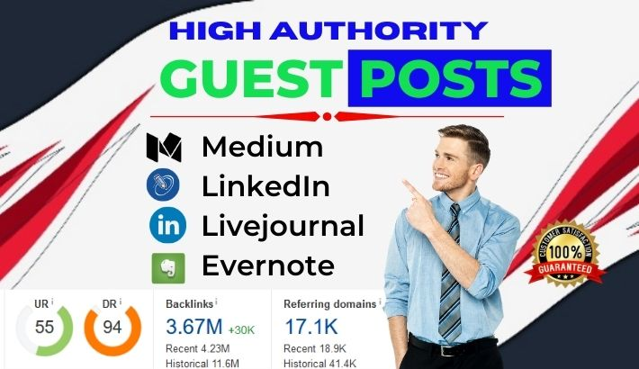 4 Guest post on High DA 90+ blog sites with DoFollow & NoFollow mixed Links