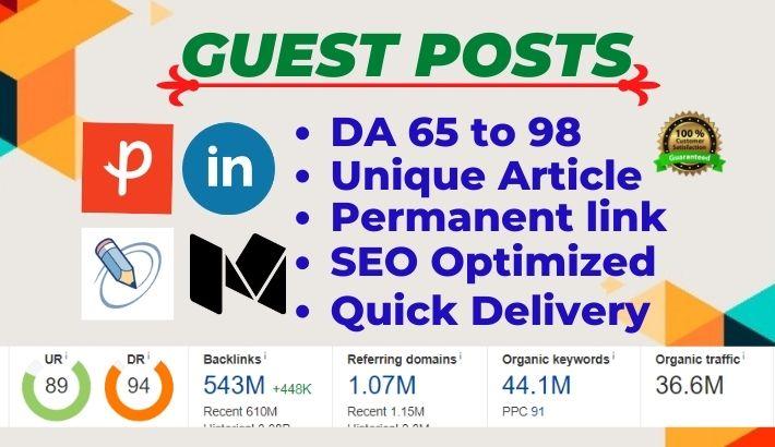 Write and Publish 7 High Authority Guest Posts on Medium, LinkedIn, Bloglovin, Ko-fi, Behance - DA70+