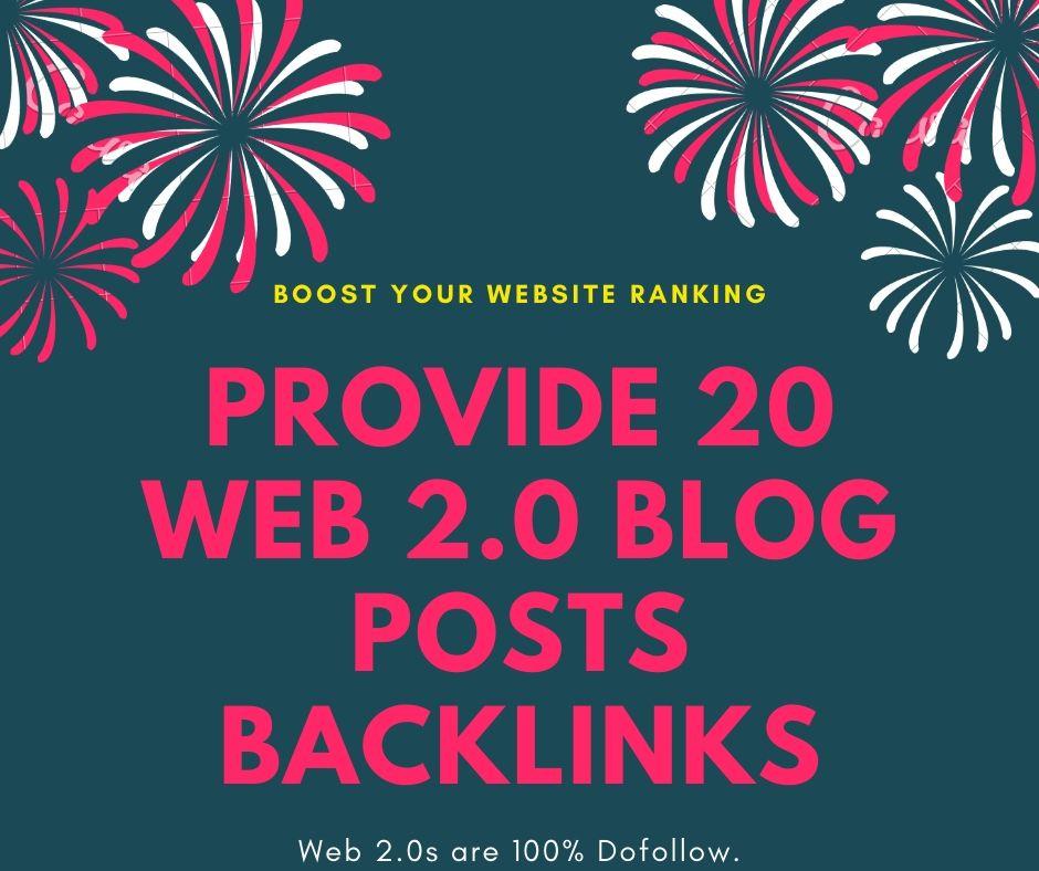 Provide You 20 Web 2.0 Blog Posts Authority Backlinks