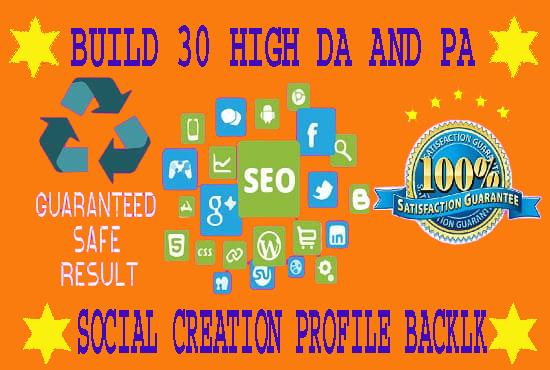 I will Provide 30 High Authority Dofoallow SEO Profile Creation Backlink
