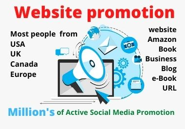 I will promote website on 2, 00,000 active social traffic
