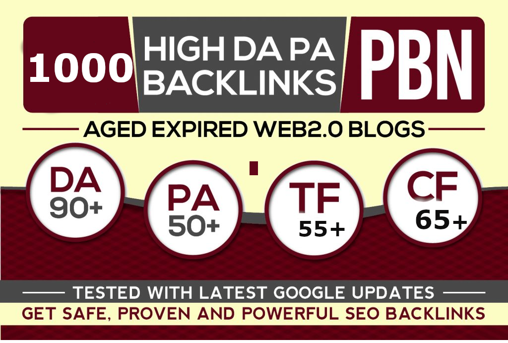 Get Premium 1000+ PBN links with HIGH DA/PA/TF/CF Ranks by exclusive Back-links