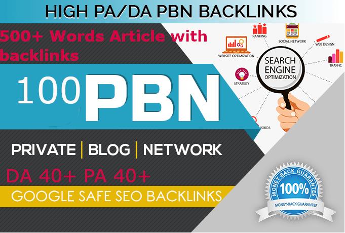 Build Unique 100 Sites DA 70+ PA 55+ PR 5+ Web 2.0 PBN backlinks