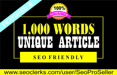 I will do an amazing 1000 words Article writing,  content writing for your website or blog.