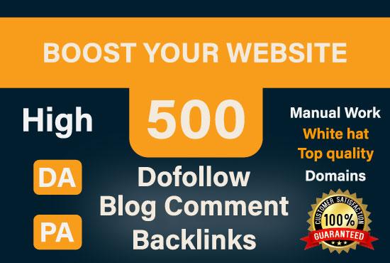 I Will Do Manually 500 Do follow High Quality Blog Comment Backlinks