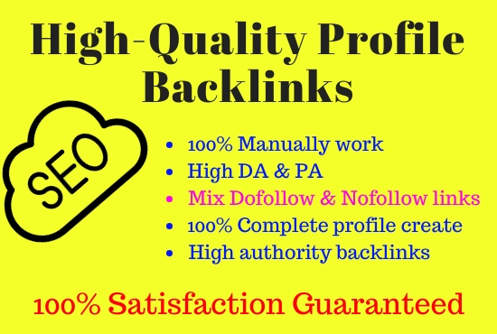 I will do 100 high DA profile creation backlinks