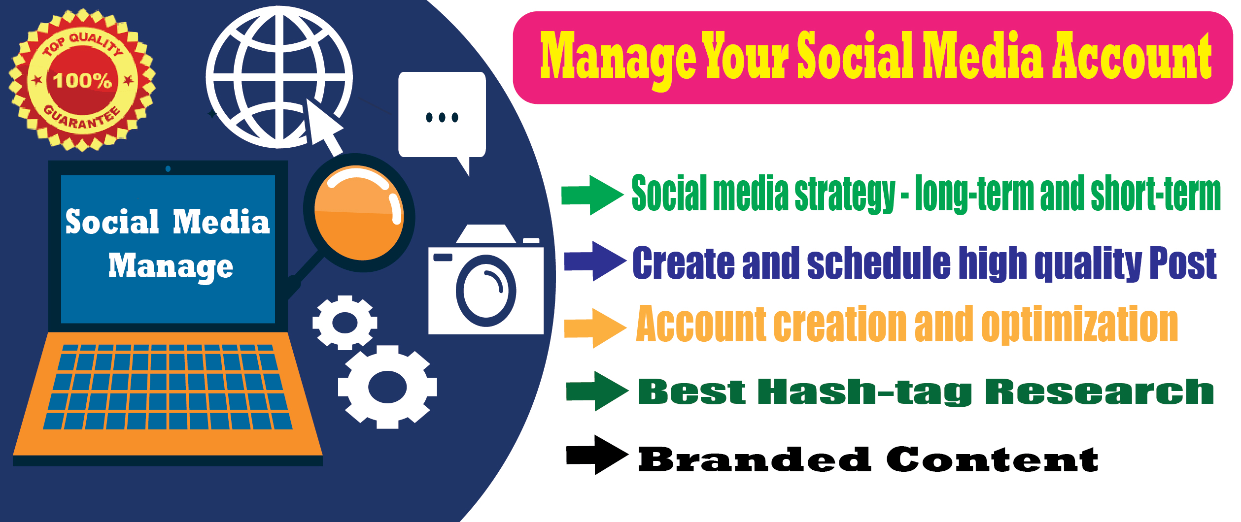 I will manage your social media account 7days