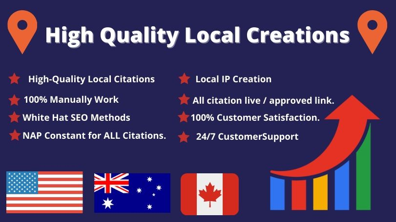 I will create 25 USA,  UK,  CA,  AUS local listing or local citations for local SEO