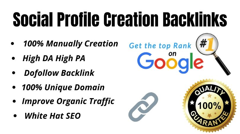 I will do 80 High DA PA profile creation backlink for your website Ranking