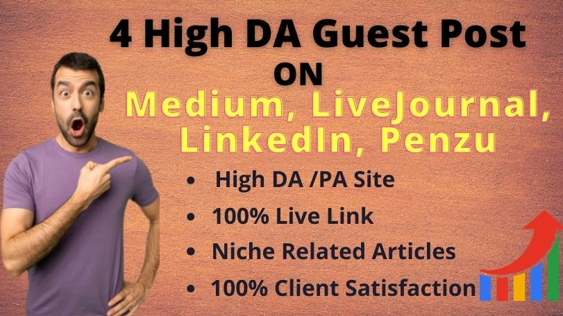 I will write content and publish High DA Guest post service on medium,  linkedin, LiveJournal,  penzu