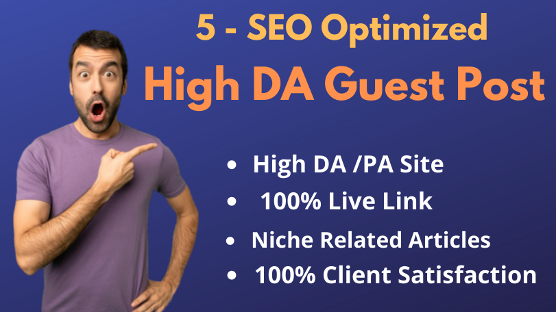 I will write content and publish High DA 5 Guest post seo backlinks