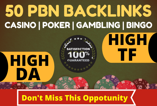50 PBN Backlinks for casino poker gambling bingo high da pa links
