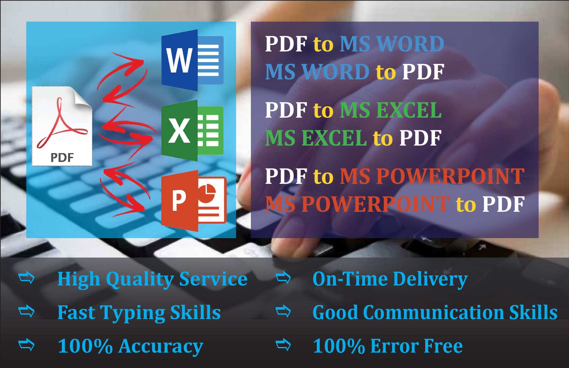 I will do Convert and format all to MS word and Excel for 1