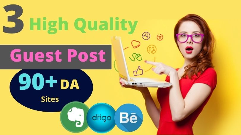 Build 3 High Quality GUEST POST Backlinks on High DA sites with 3 Unique Articles.