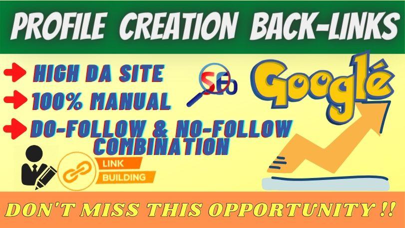 Build 100 High Quality Social Profile Creation backlinks SEO linkbuilding