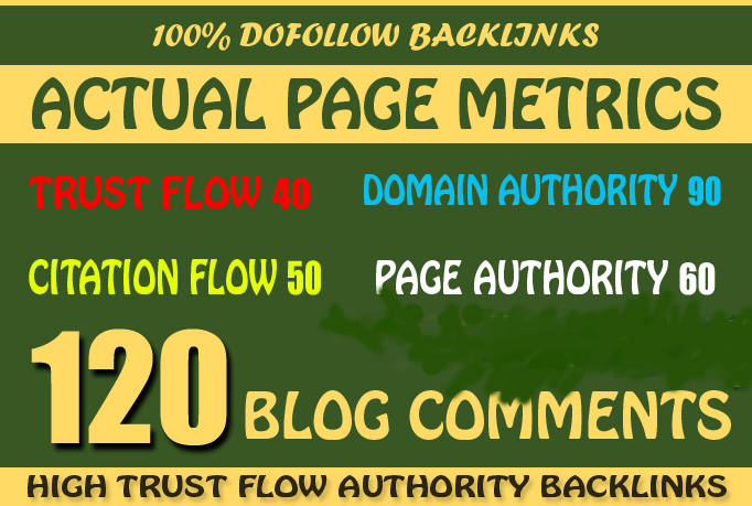120 High Trust Flow Authority Blog Comment BackLinks Manually