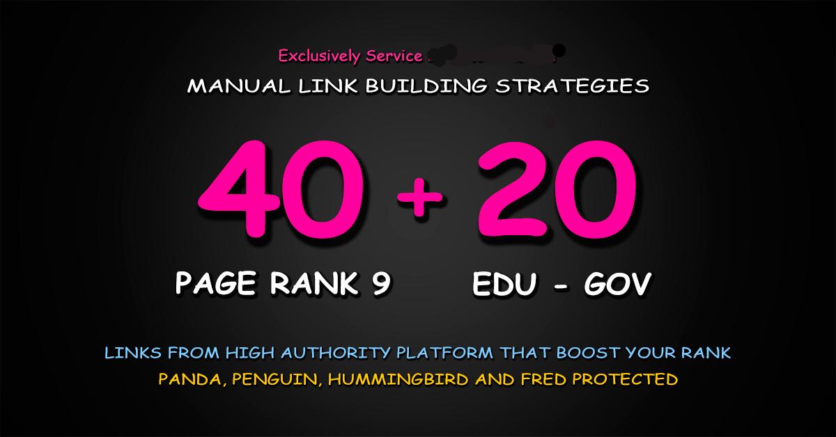 40 Pr9 + 20 Edu Gov High Trust Authority Safe SEO Backlinks.