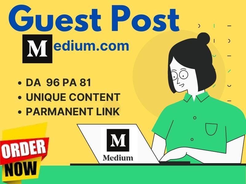 I will write high DA Guest post Backlink on Medium