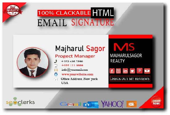 create a clickable HTML email signature