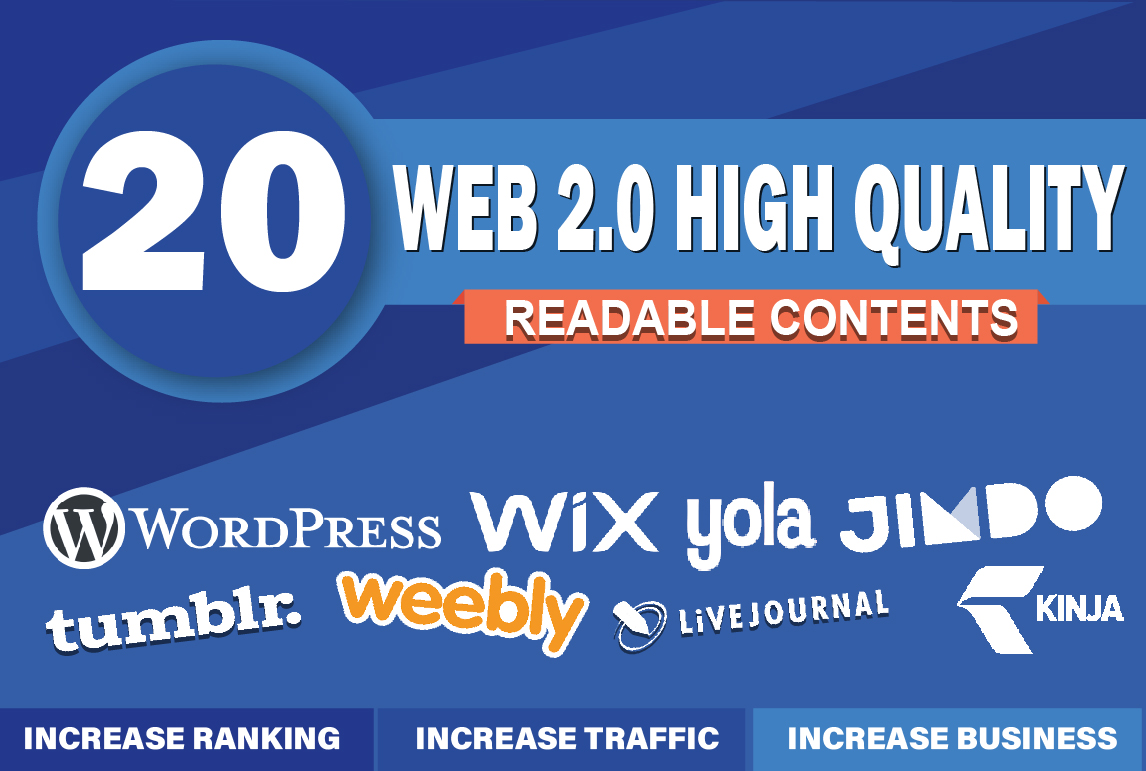 I will create 20 manual WEB 2.0 Backlinks- Land on Google first Page Ranking