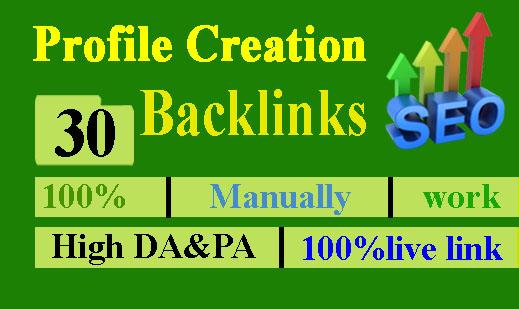 I will Provide 30 Dofollow Profile Creation Backlinks