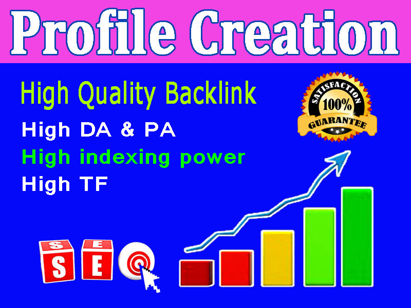 I will create 30 high-quality Profile Creation Backlinks for your website.