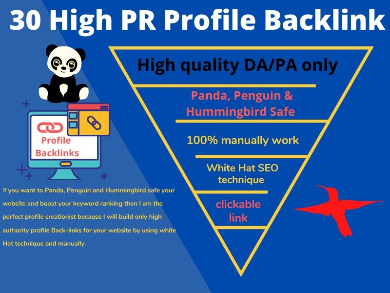 I will create 30 High PR profile backlinks for your site at a very cheap rate