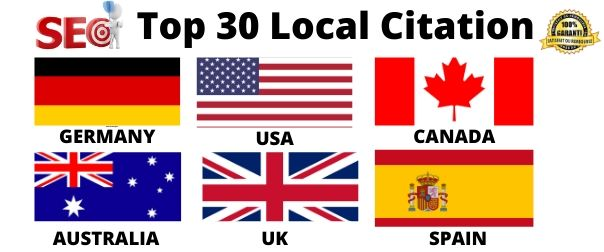 I will do 30 local citations for GERMANY, USA, CANADA, AUSTRALIA, UK, SPAIN local listing business