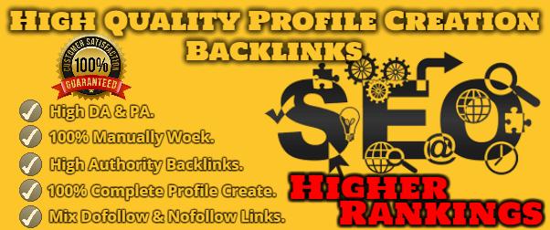 I will do 100 high DA,  PA Profile Creation Backlinks