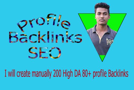 I will create manually 200 High DA 80+ profile Backlinks