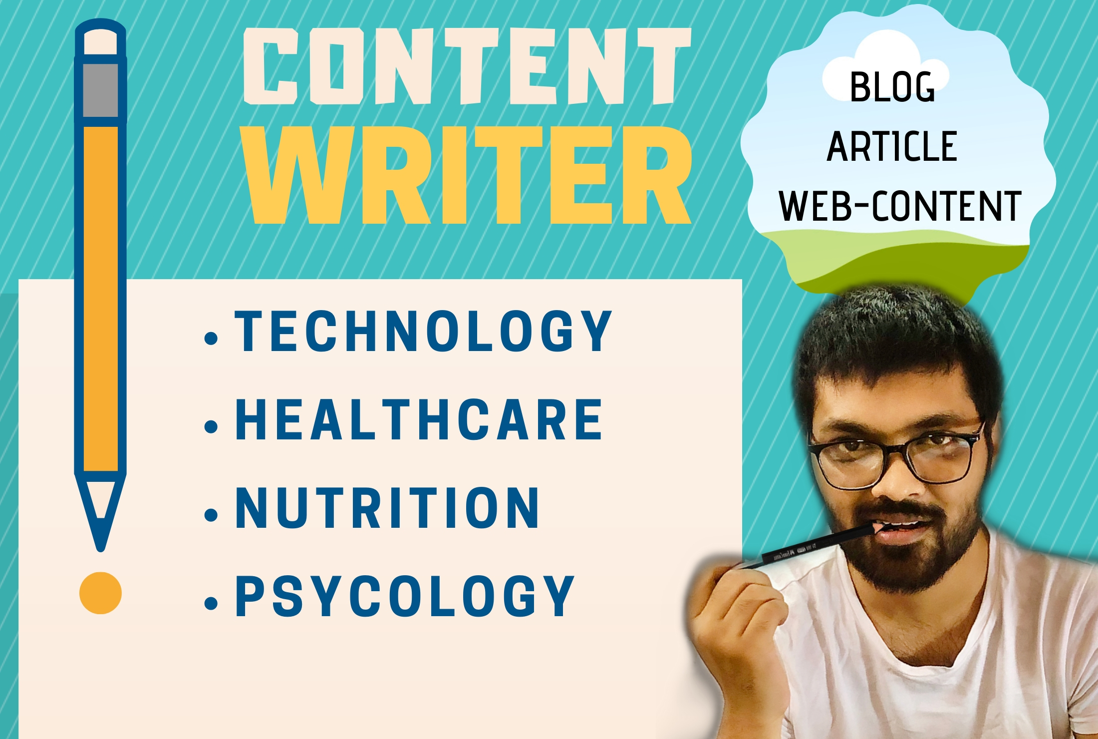 I will be your content writer,  400-800 words. Blogs,  Articles,  Website Content.